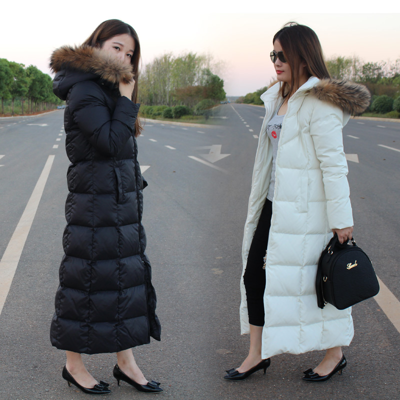 New Utra Long Maxi Duck Down Coat for Women with Large Real Genuine Fur Hoodies Maxi Jacket Parka Ankle Length Black White XXL