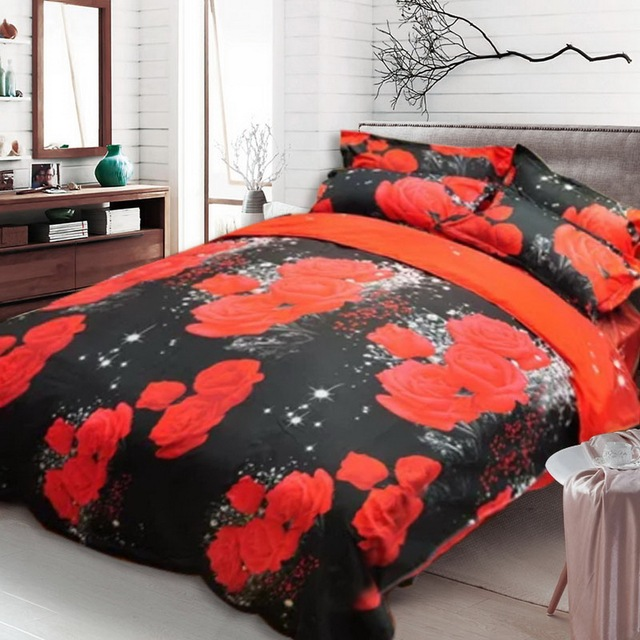 New Beautiful 3D Flower Rose Feast Pattern Bedding Set Bed sheets Duvet Cover Bed sheet Pillowcase 4pcs/set hot sale