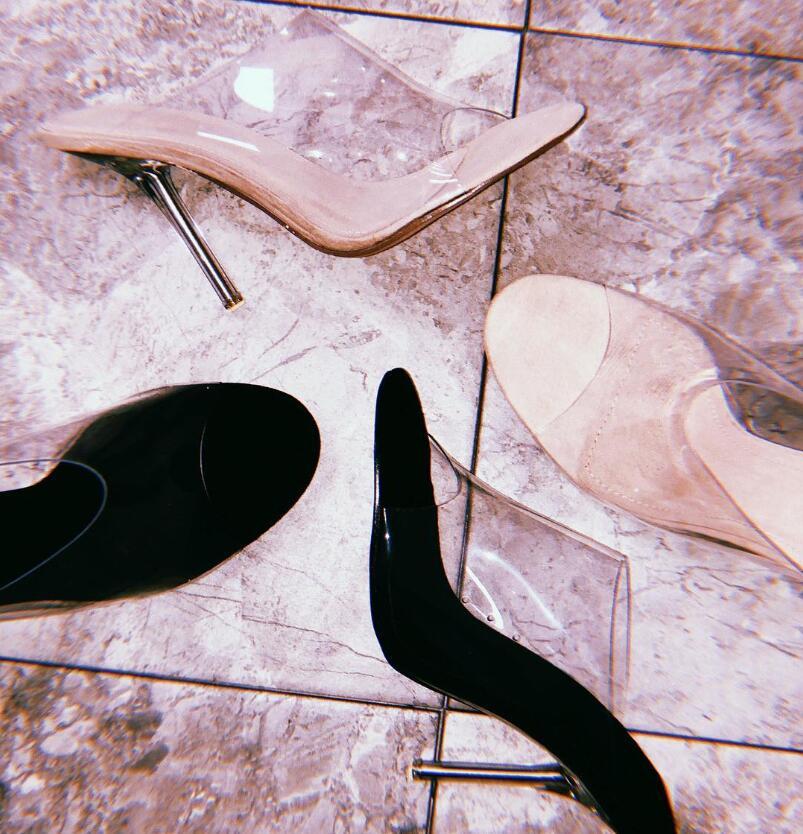 Moda Peep Toe Sandálias de Salto Alto Mulheres Limpar Transparente PVC Cristal Sandálias Deslizamento Em Sapatas de Vestido de Verão - 3