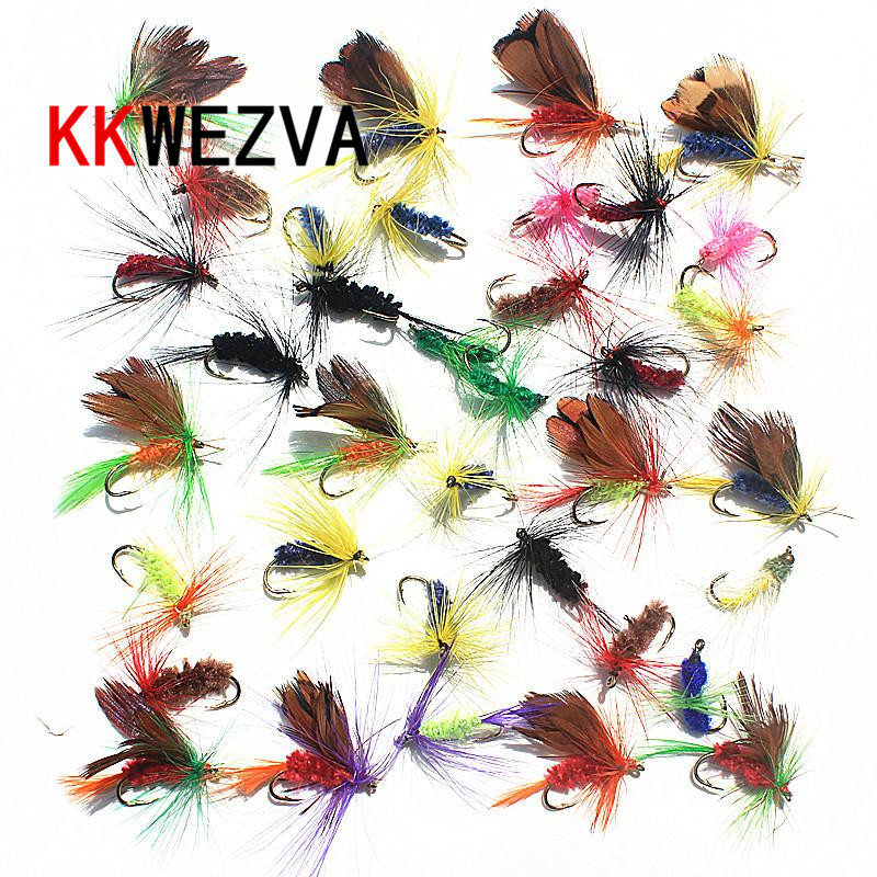 KKWEZVA 36pcs Insect Fly Fishing Lure Kunstig Fiske Beit Fjær Single Treble Kroker Carp Fish Lure Vann overflate
