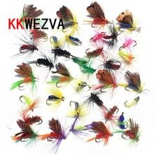 KKWEZVA 36pcs Insect Fly Fishing Lure Synthetic Fishing Bait Feather Single Treble Hooks Carp Fish Lure Water floor