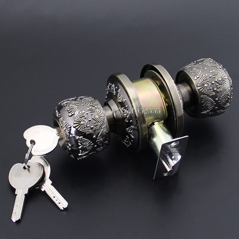 European Antique Round Door Locks Security Anti-theft Door Knobs Lock With Keys Interior Room Door Locks K128 new runway designer women sandals jewel heel blue leather chunky high heel shoes pumps ladies crystal buckle sandals party shoes
