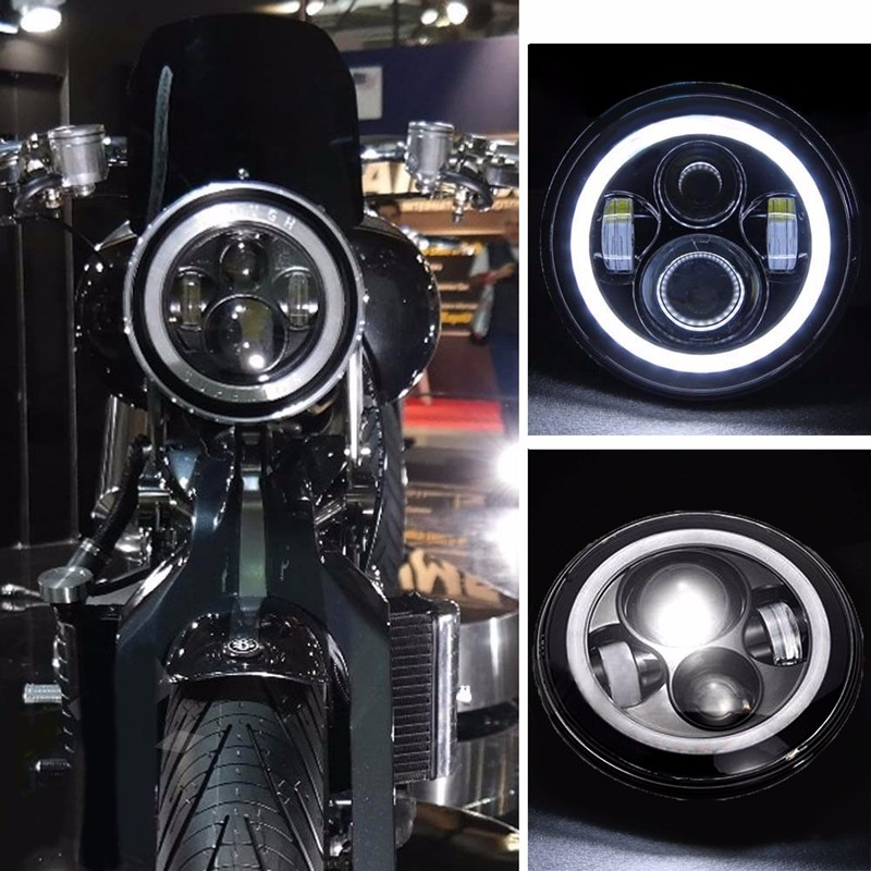 Home 7 Inch Led Headlight 6000k H4 H13 60w For Harley Automobiles Motorcycles High Low Beam Round Projector Headlight With Angle Eyes