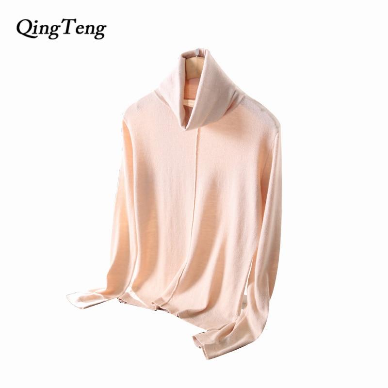 QingTeng 2017 Winter Cashmere Sweater Women Long Sleeve Turtleneck Pullover Shirt Female Warm <font><b>Knitted</b></font> Women Jacket Jersey