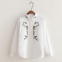 DAIQIANNI Long Sleeve White Shirt Women 2018 Spding Korean Loose Rose Embroidery Blouse Women Casual Cotton