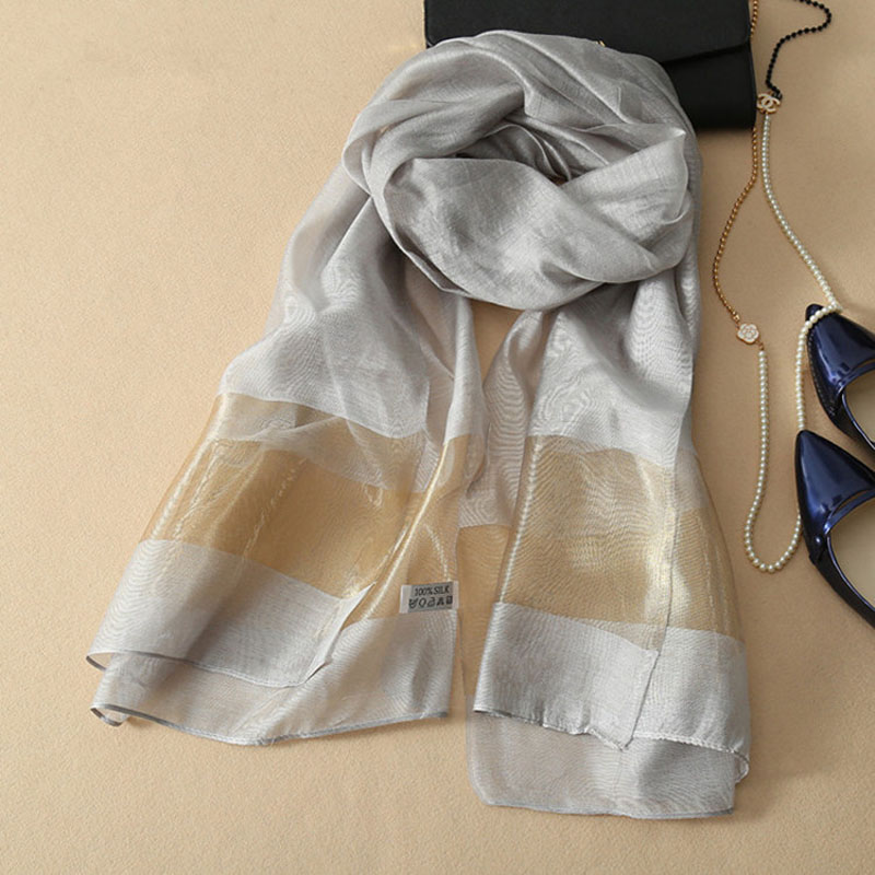 Pretty New silk women scarf 9 colors fashion stitching gold silk Scarves & Wraps cotton solid shawls