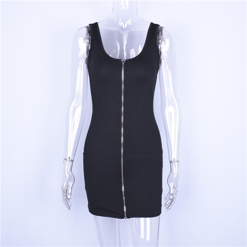 Image 5 - Hugcitar sleeveless V neck zipper backless sexy bodycon mini dress 2019 summer women fashion black party clothes-in Dresses from Women's Clothing