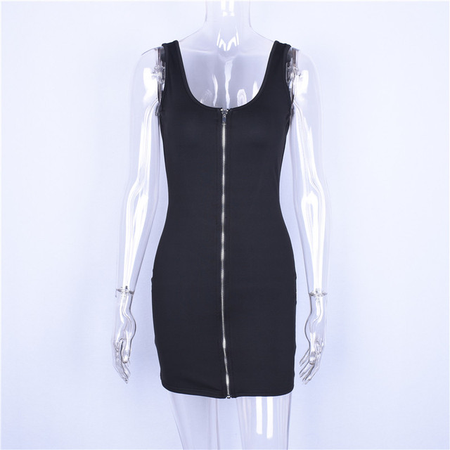 Backless front zip black sleeveless mini dress
