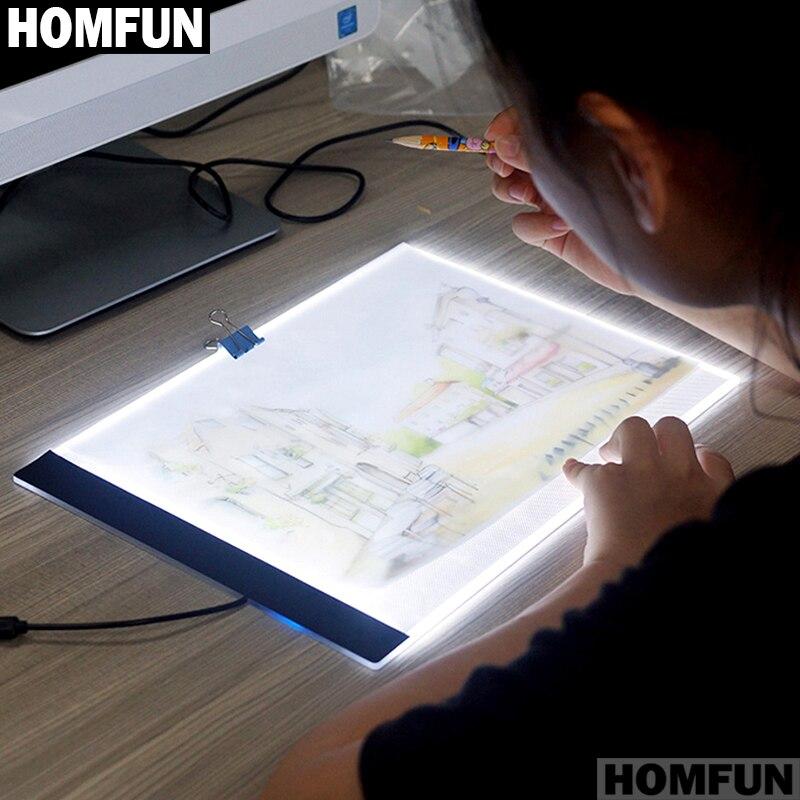 HOMFUN Ultrathin 3,5mm A4 luz LED Tablet Pad se aplican a la UE/AU/UK/US/conector USB bordado de diamantes pintura diamante Cruz puntada