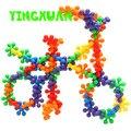 HAPPYXUAN 50 unidades/pacote Crianças Flor de Plástico Blocos de Construção de Conjuntos de Kits para A Criatividade do miúdo do jardim de Infância brinquedos Educativos