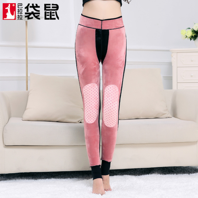 2018 Women Tights With High Waisted Thickened Peacock Female Wear Winter Heating Kneepad Waist Pants Body Temperature