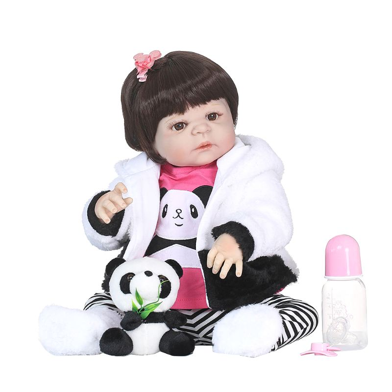 1 Set 55cm Lifelike Full Silicon Baby Dolls Mini Panda Coat Cute Gifts Early Childhood Baby Toy картридж для принтера hp c8767he 130 black inkjet print cartridge