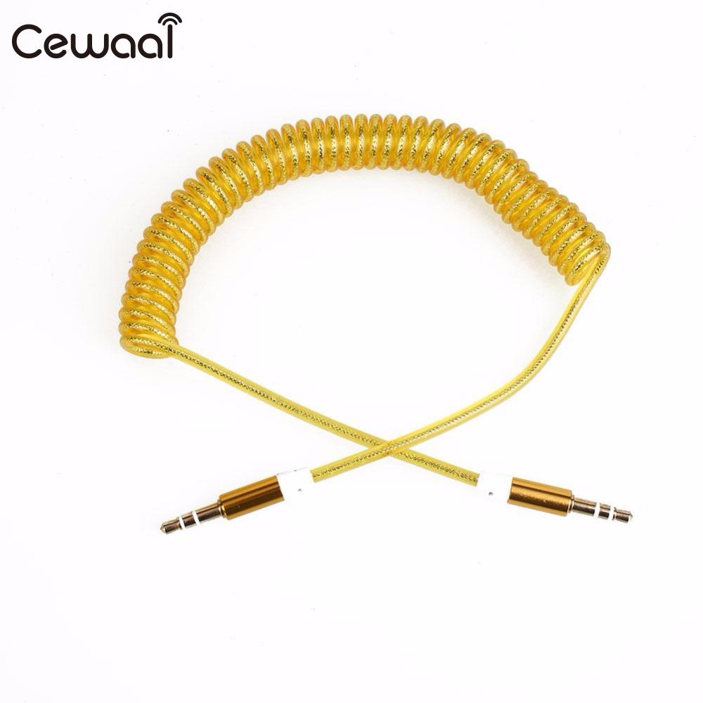 Earphone Accessories Cewaal Black 3.5mm Aux Spring Cable Jack To Jack Male Audio Auxiliary Plug Lead Car Speaker Earphone Headset Accessories