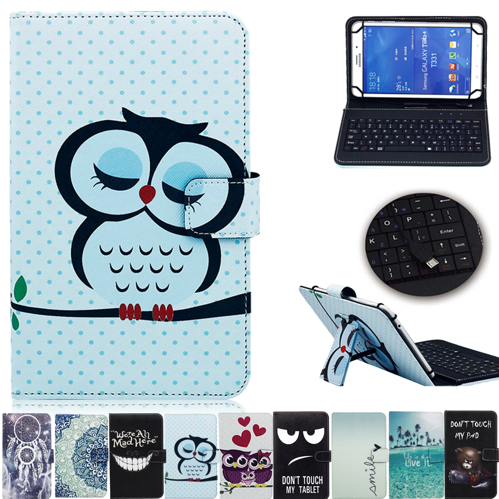 New Print 10 inch Universal  Case Cover With USB keyboard For Android Tablet For Samsung Tab For Lenovo For Huawei For Asus universal wired usb keyboard for windows xp window 7 and above androids 3 0 and above keyboard skin cover new arrival