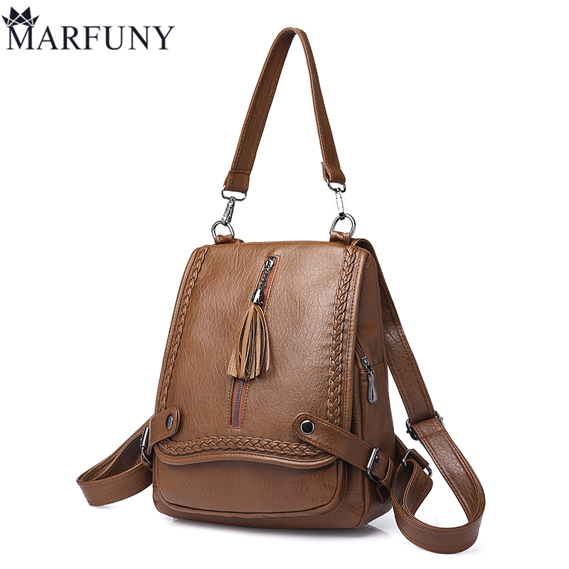 MARFUNY Brand Tassel Backpack Women Shoulder Bags Ladies Pu Leather Backpack Female School Bags For Girls Travel Backpacks Sac senkey style designer backpack men high quality 2017 waterproof leather retro laptop backpack women school bags for teenagers
