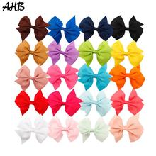 AHB 20pcs/lot 4'' Hair Bows for Girls with Clips Handmade Solid Grosgrain Ribbon Bowknot Hairgrips Kids Hairpin Hair Accessories цена в Москве и Питере