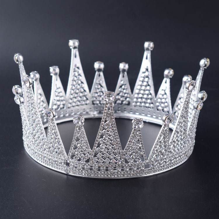 Peacock Star Men King Crown Pageant Prom Accessories Full Circle Round Silver Crystals Tiara Wholesale-in Hair Jewelry from Jewelry & Accessories    1