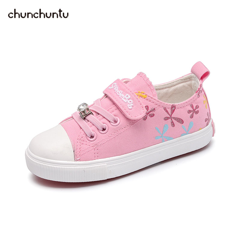 2018 Autumn Children Fashion Canvas Trainer Baby Girl Brand Sport Sneaker Toddler Rhinestone Casual Shoe 3875