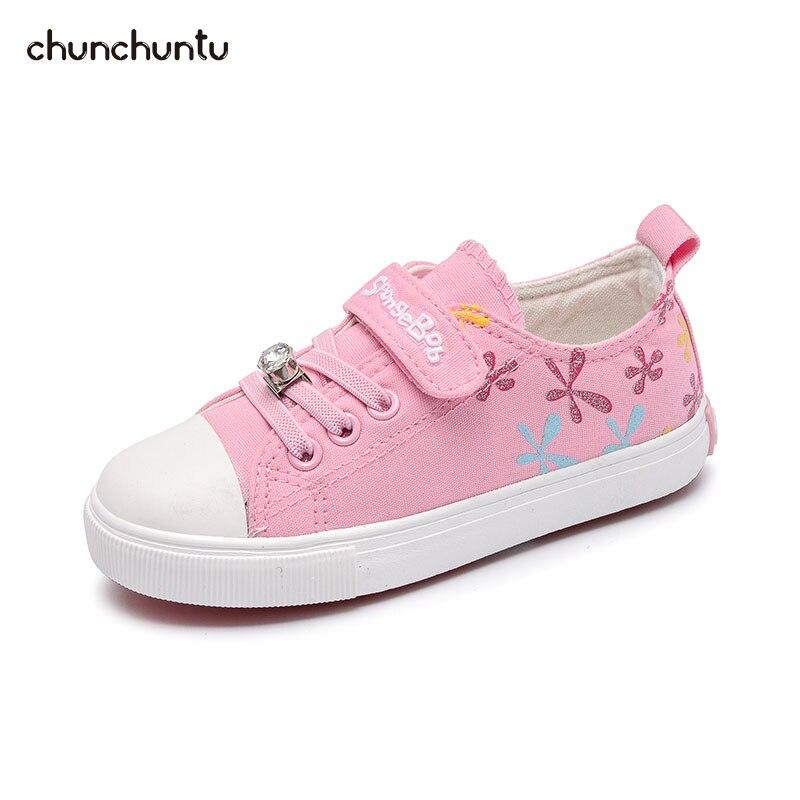 chunchuntu 2018 Autumn Children Fashion Canvas Trainer Baby Girl Brand Sport Sneaker Toddler Rhinestone Casual Shoe 3875