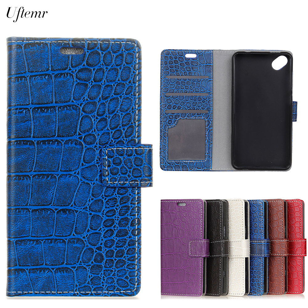 Uftemr Vintage Crocodile PU Leather Cover For Wiko Sunny 2 Plus Protective Silicone Case Wallet Card Slot Phone Acessories