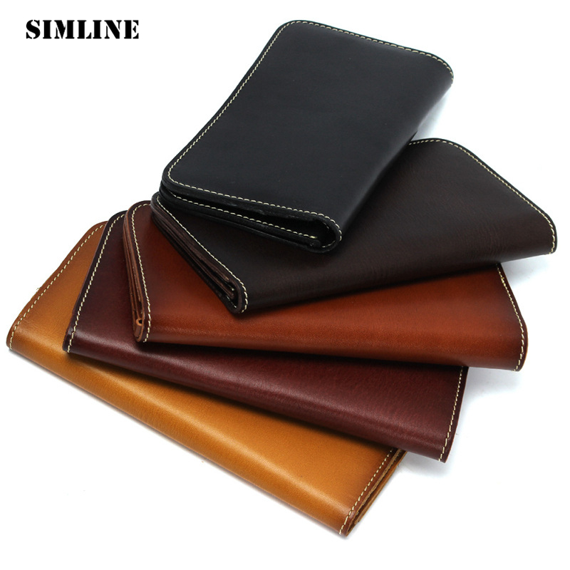 SIMLINE Vintage Handmade Genuine Vegetable Tanned Cow Leather Mens Men Long Wallet Purse Wallets Card Holder Zipper Coin Pocket цена и фото