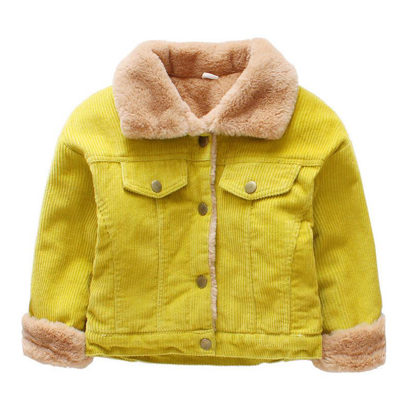 Winter Jacket for Kids 2017 Infant Toddler Boy Jacket Turn-down Collar Corduroy Thick Fleece Warm Children Outerwear Coats XL235