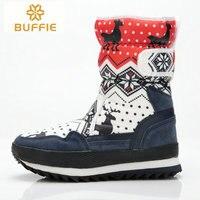 Rojo botas de invierno las mujeres ropa de moda botas de nieve chica mitad de la pantorrilla gruesa botas de piel caliente 2017 tela Buffie marca de zapatos de invierno envío gratis