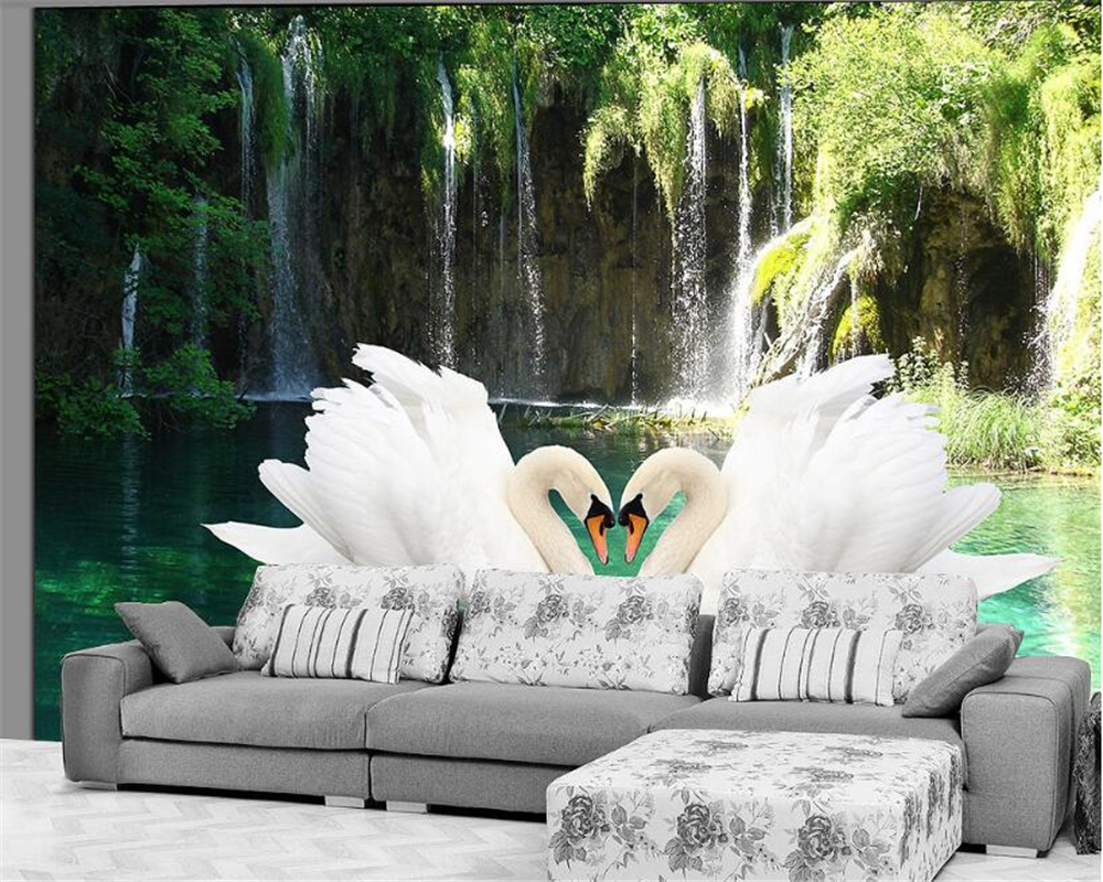 Beibehang 3d Wallpaper Swan Waterfall Nature Fresh Sofa TV Background Living Room Bedroom Mural photo wallpaper for walls 3 d wallpaper for walls 3 d modern trdimensional geometry 4d tv background wall paper roll silver gray wallpapers for living room