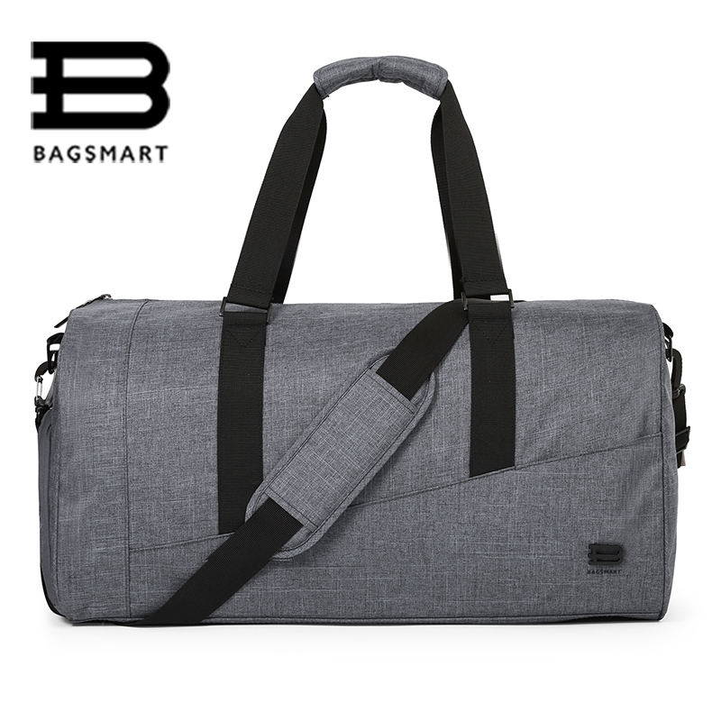 BAGSMART Men Travel Bag Large Capacity Carry on Luggage Bag Nylon Travel Duffle Shoe Pocket Overnight Weekend Bags Travel Tote men duffle bag canvas carry on weekend bag male tote overnight multifunction military large capacity casual luggage travel bags