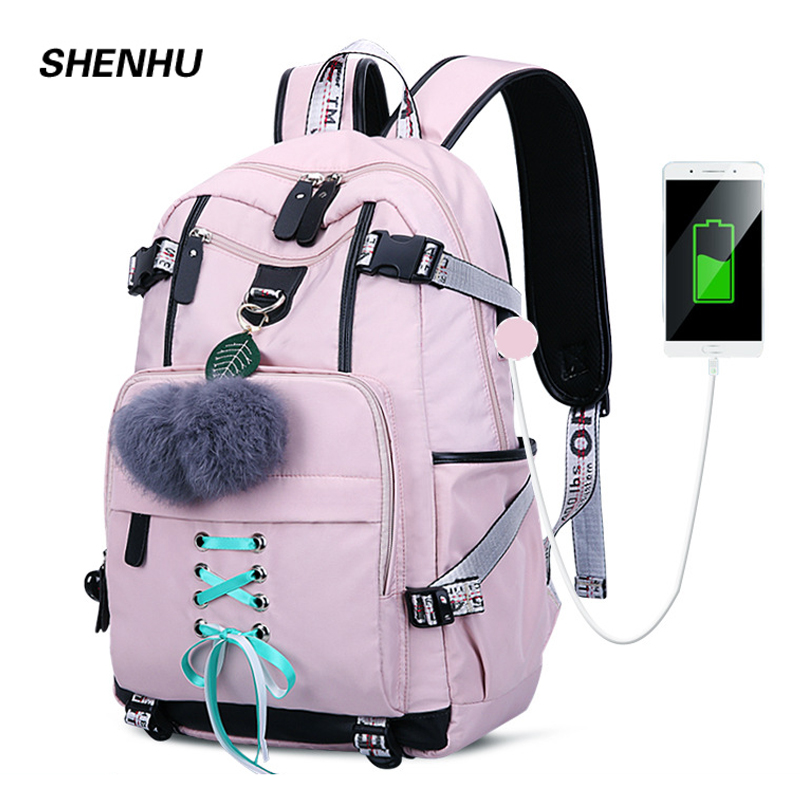 SHENHU 2019 New Laptop Women Backpack External USB Charge Computer Backpacks Anti-theft Waterproof School Bag for Teenage Girls