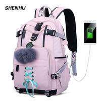 SHENHU 2019 New Laptop Women Backpack External USB Charge Computer Backpacks Anti theft Waterproof School Bag for Teenage Girls