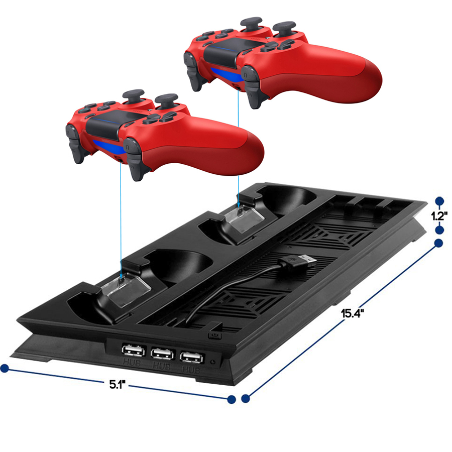 PS4 PRO Ultrathin Charging Heat Sink Cooling Fan Cooler Vertical Stand for Sony Playstation 4  Pro with Dual Controllers Charger 1