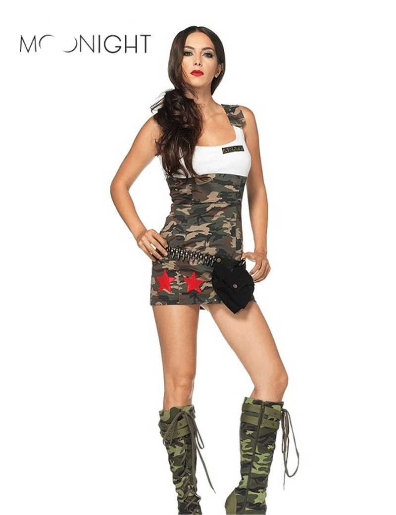 MOONIGHT Halloween Women Soldier Costumes <font><b>Sexy</b></font> Camouflage <font><b>Army</b></font> Costumes Fancy Dress Clothing <font><b>Cosplay</b></font> Costumes for Women image