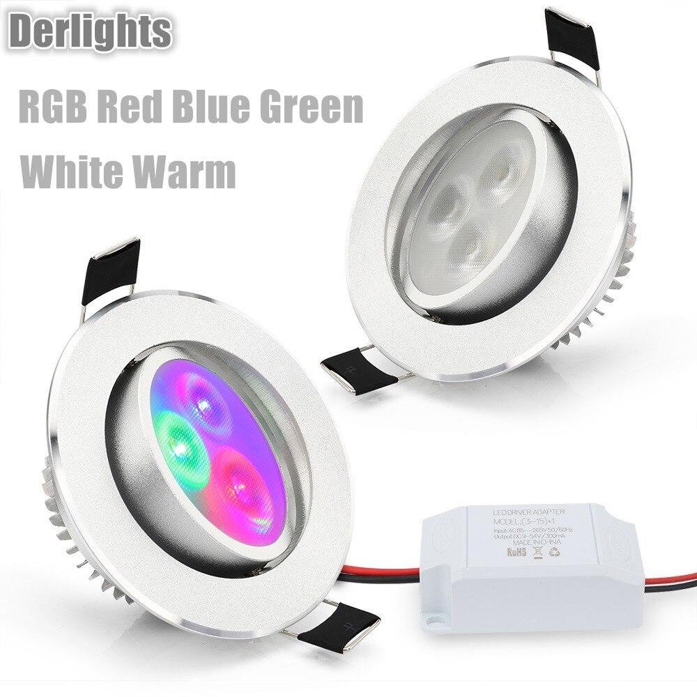 1 шт. светодиодный потолочный светильник rgb красные, синие зеленый белый теплый встраиваемые потолочный светильник 85-265 В пятно Освещение дл...