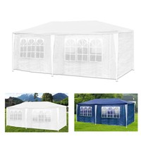 3 X 6m Outdoor Garden Party Gazebo Marquee Canopy Tent Awning Waterproof 6 side walls 12 arched windows Color White Blue