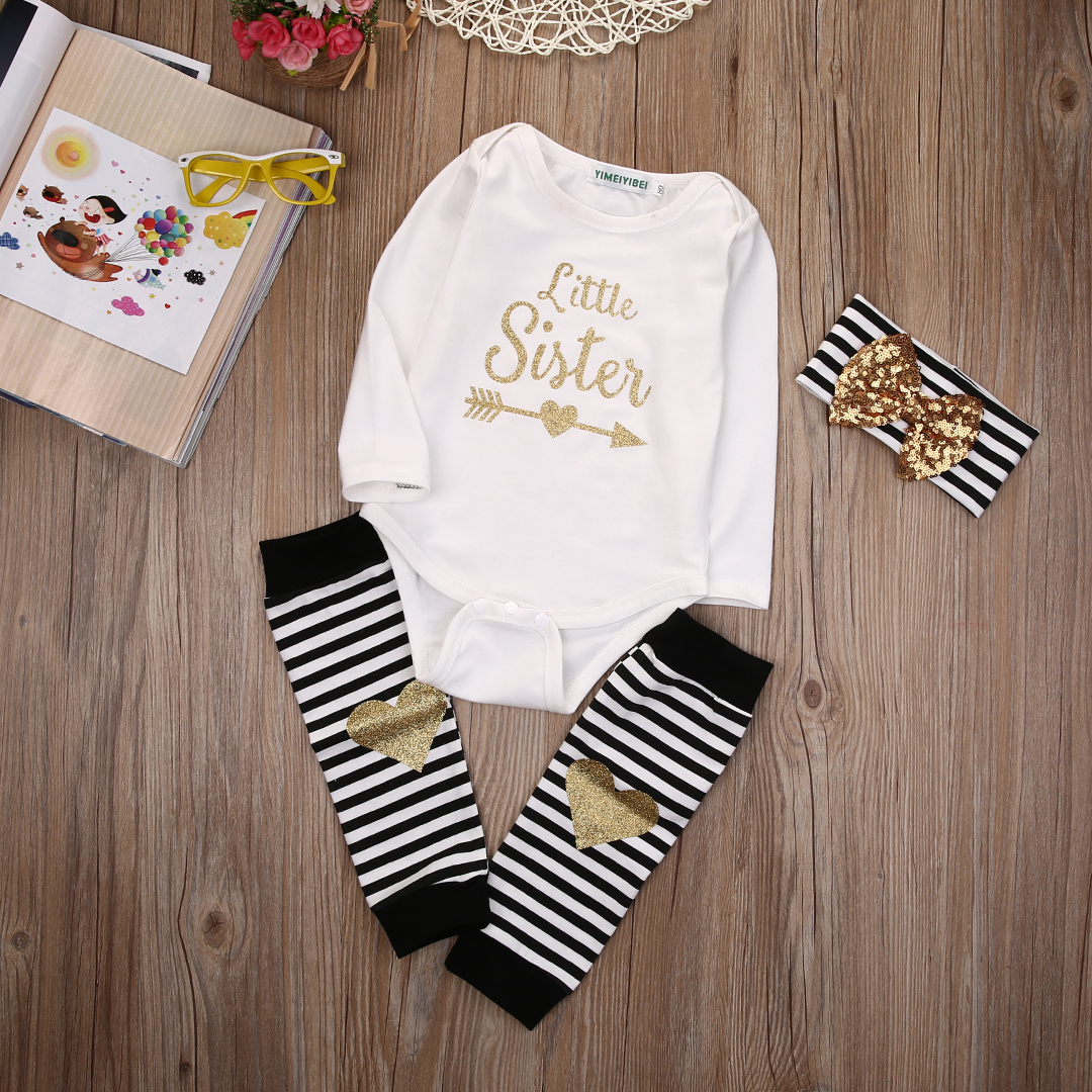 0-18M Newborn Baby Girls Clothes Little Sister Long Sleeve Bodysuit Romper Striped Leg Warmer Bow Hairband 3pcs Kids Clothing pink newborn infant baby girls clothes short sleeve bodysuit striped leg warmers headband 3pcs outfit bebek clothing set 0 18m