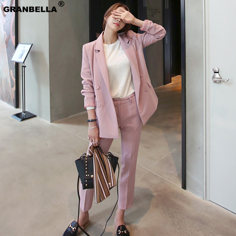 2019 Spring Korean Female Pink Chic Blazer Pants Suits Classic Casual Outwear Ankle length Pants Womens Suits Set 2 Pieces