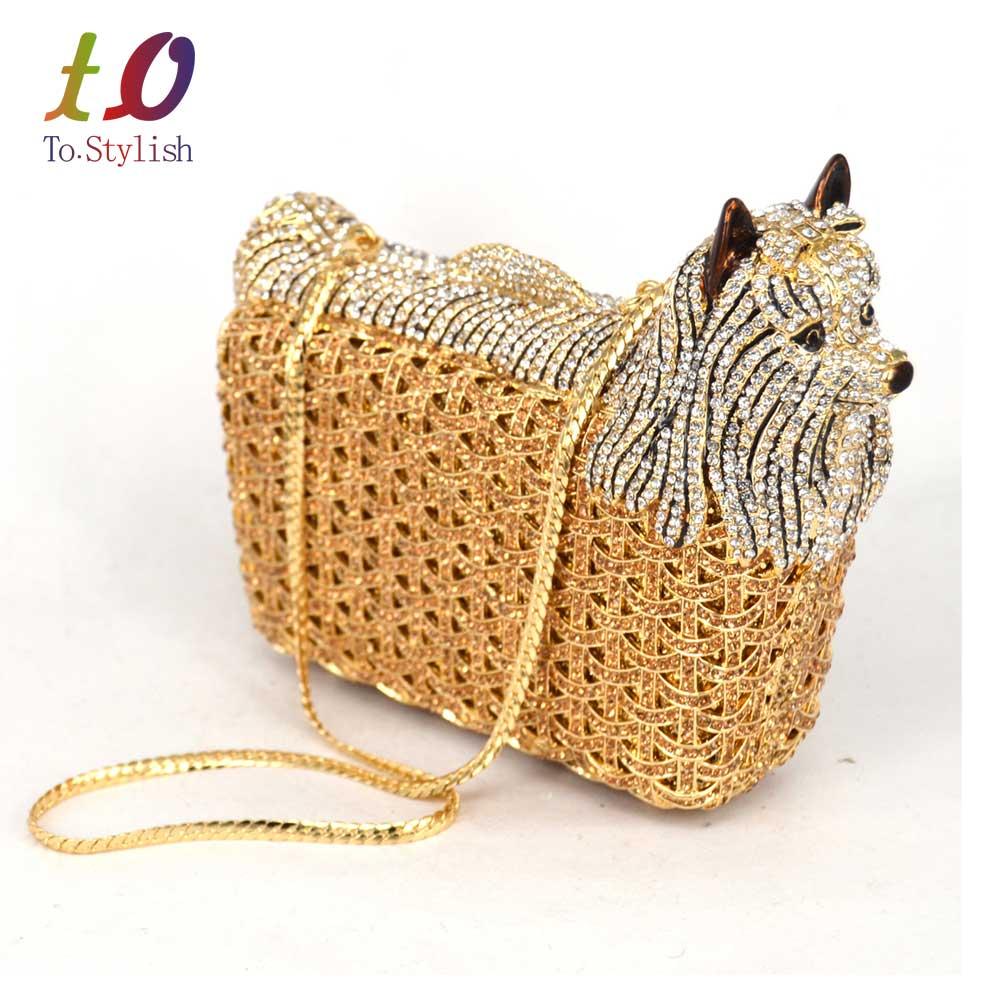 Diseñador clásico bolso de noche de cristal de lujo del perro de Animal mujeres