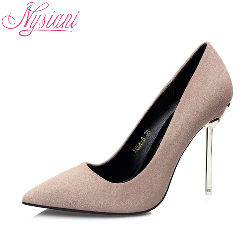 Pointu Haute Hauts Pompes Chaussures 2018 Sexy Ultra Designer Nysiani Robe pink on Bout Parti red green gray Talons khaki Slip Marque Black Femmes nN80XZOwPk
