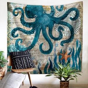 Image 2 - ים התיכון בעלי החיים בת ים שטיח מקרמה קיר תליית חוף מגבת יושב שמיכת חווה Boho בית דקור ראש המיטה