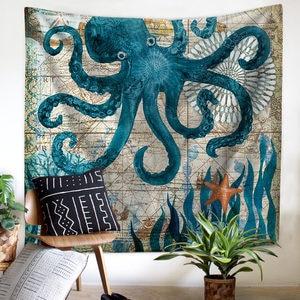 Image 2 - Mediterranean Sea Animal Mermaid Tapestry Macrame Wall Hanging Beach Towel Sitting Blanket Farmhouse Boho Home Decor Headboard