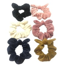 2PCS Women Striped Velvet Scrunchies Ponytail Holder Knot Bow Elastic Hair Band Bunny Ear Coral Fleece Headwear Accessories