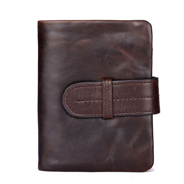 Vintage Design Men's Genuine Cowhide Oil Wax Leather Short Bifold Wallet Men Small Wallet Male Business Casual Purse Coin Pocket