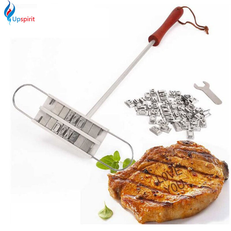 2016 Personality Steak Meat Branding Iron With Changeable 55 Letters Barbecue Grill BBQ Meat Steak Burger DIY Barbecue Tools Set