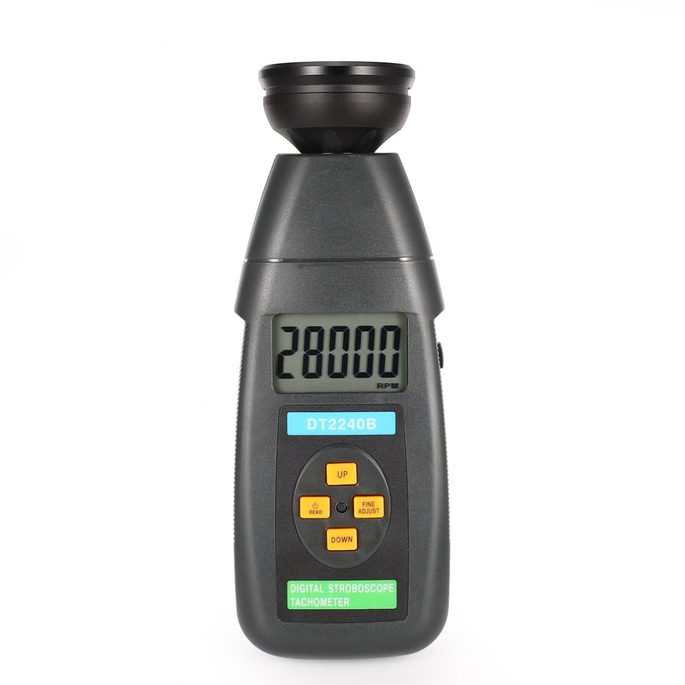 DT2240B Digital LCD Non-Contact Flash Stroboscope Tachometer Photoelectric Revolution Meter Speedometer Tester 60~40000RPM victor new digital non contact stroboscope dm6237p flash frequency gun 60 19 999 rpm per minute tachometer