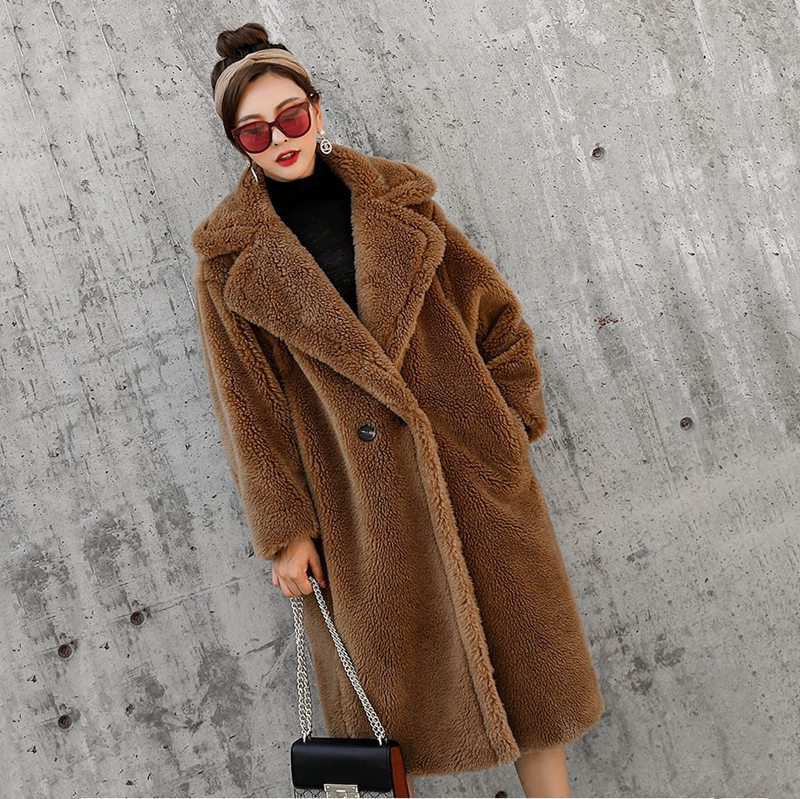 100% genuine real Merino Sheep Fur Lamb fur pink coat 2018 new luxury fashion loose big size lady thick warm sheep fur outwears