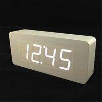 Grote getallen Digitale Klok Top Kwaliteit Wekkers Met Temperatuur, datum, Houten Houten Tafel Klokken LED Display
