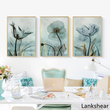 Decoration Abstract European Retro Blue Flowers Nordic Wall Art Canvas Poster and Print Painting Picture For Living Room