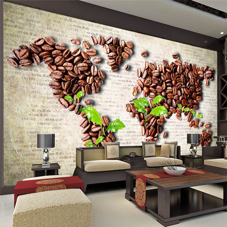 Coffee Beans Map Wall Mural Unique Design Photo Wallpaper