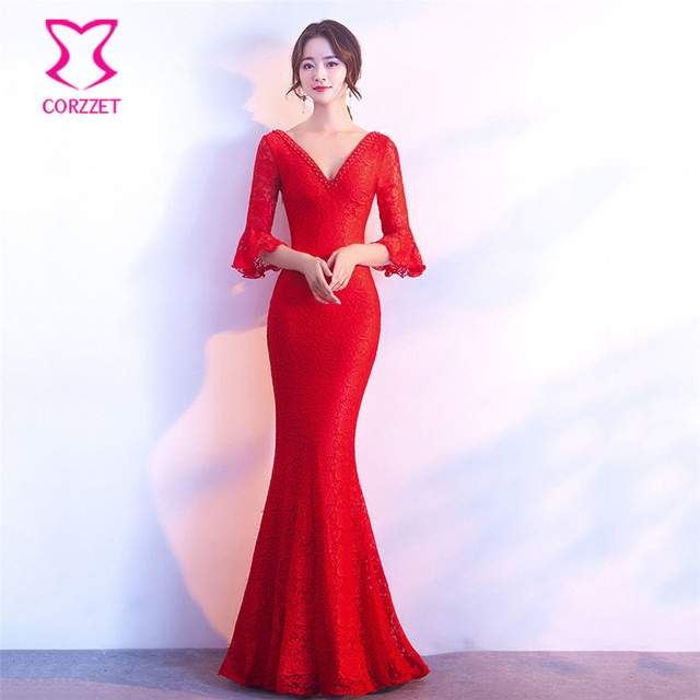 873ec7b3c82 Red Floral Lace Beading Deep V Neck Flare Sleeve Cross Backless Long Mermaid  Sexy Dress Club